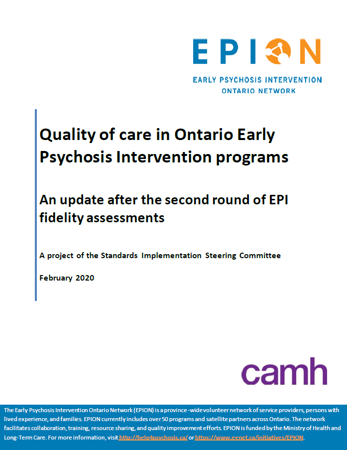 """Quality of care in Ontario Early Psychosis Intervention programs: An update after the second round of EPI fidelity assessments"" (cover page)"