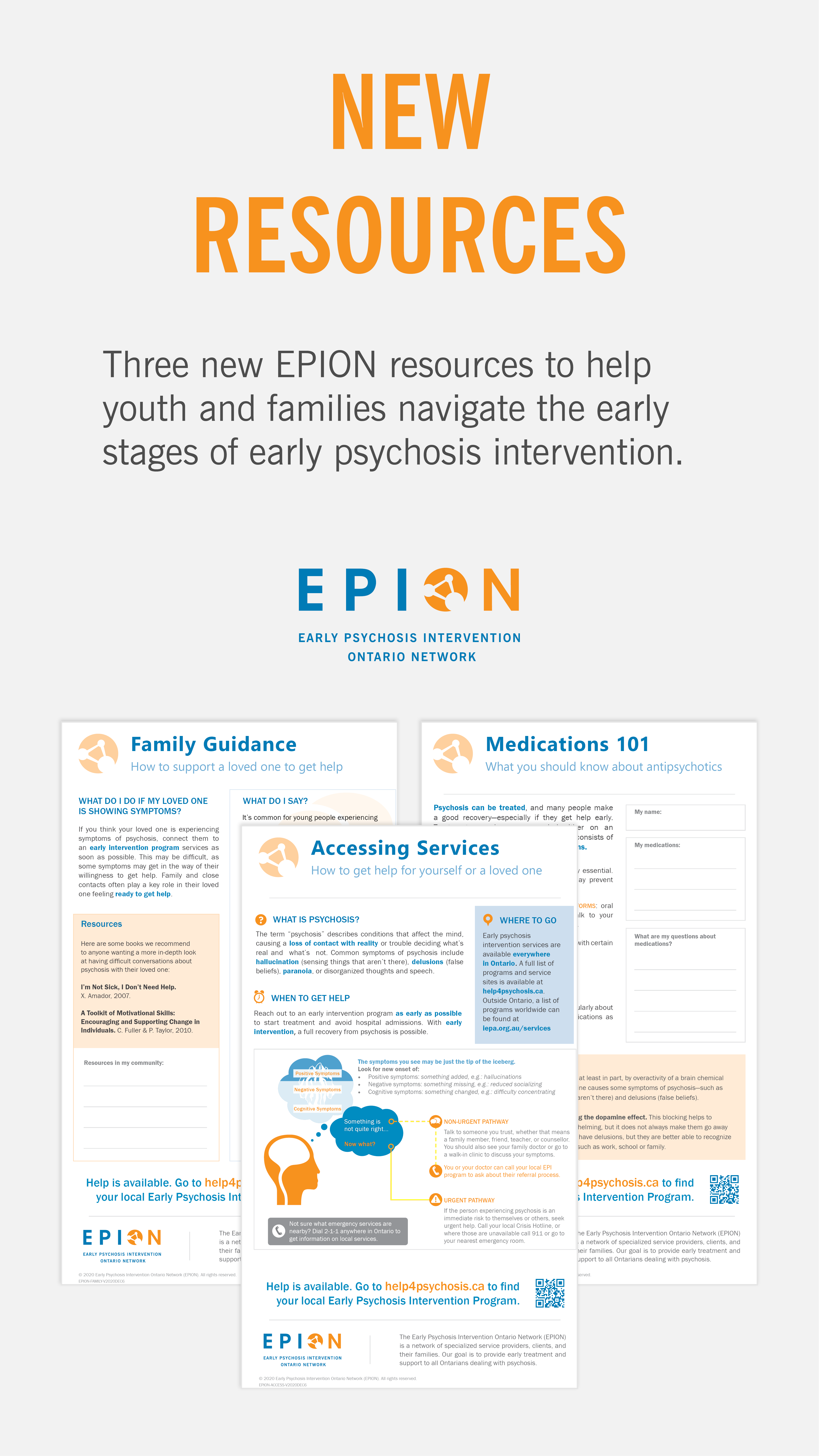 """Summary graphic depicting three info-sheets, with the text: """"New Resources: Three new EPION resources to help youth and families navigate the early stages of early psychosis intervention."""